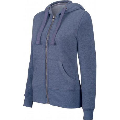 "Kariban Sweat-shirt zipp� capuche ""m�lange"" femme"