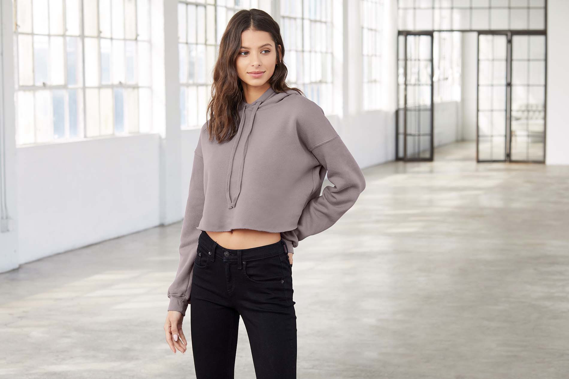 Bella + Canvas Sweat-shirt crop � capuche femme