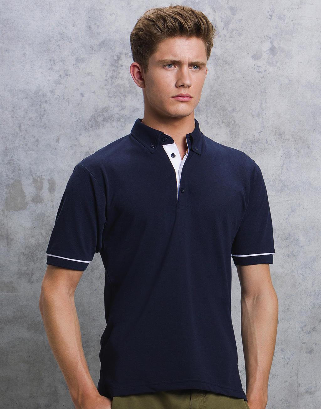 Kustom Kit Contrast Button Down Collar Polo