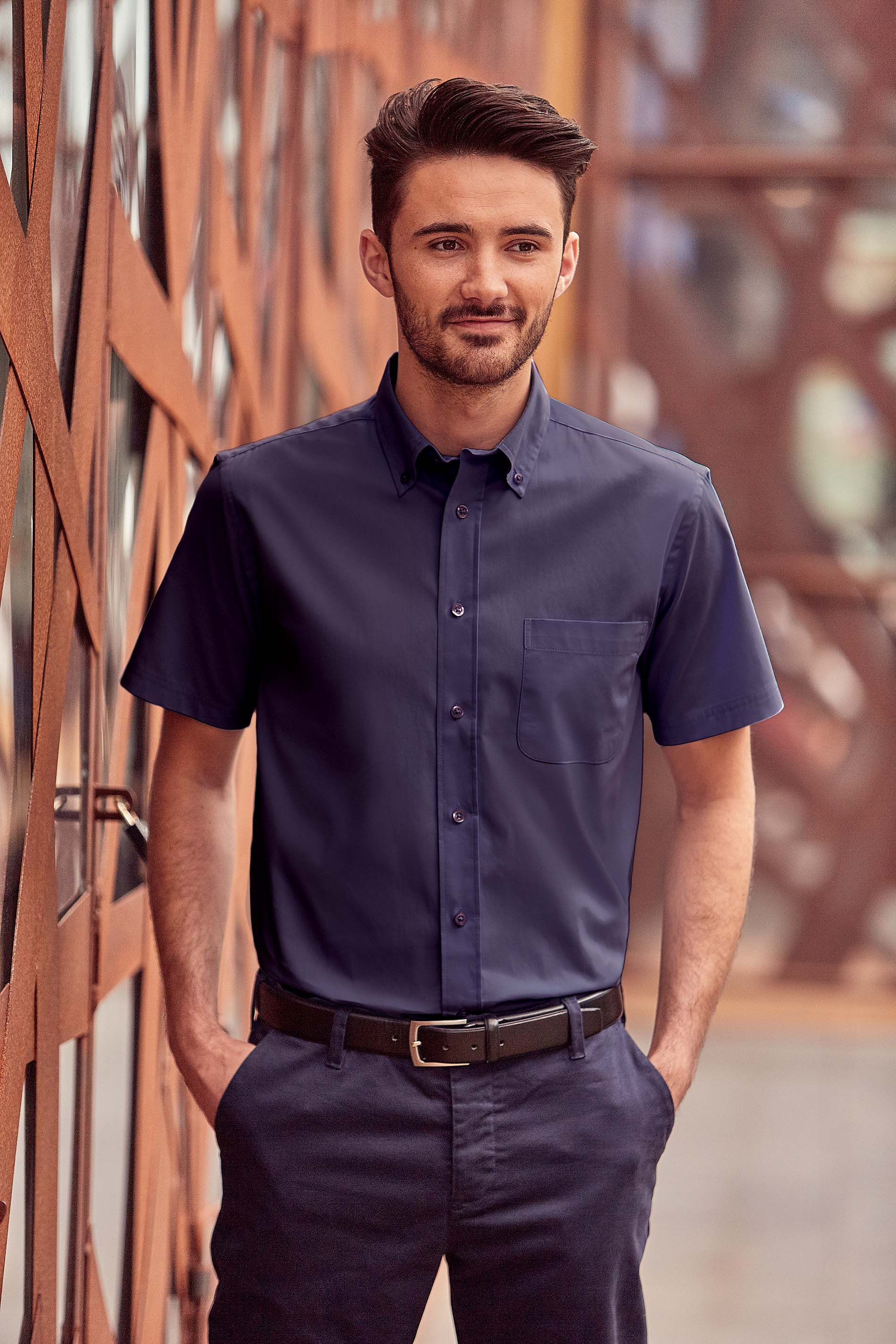 Russell CHEMISE HOMME MANCHES COURTES TWILL