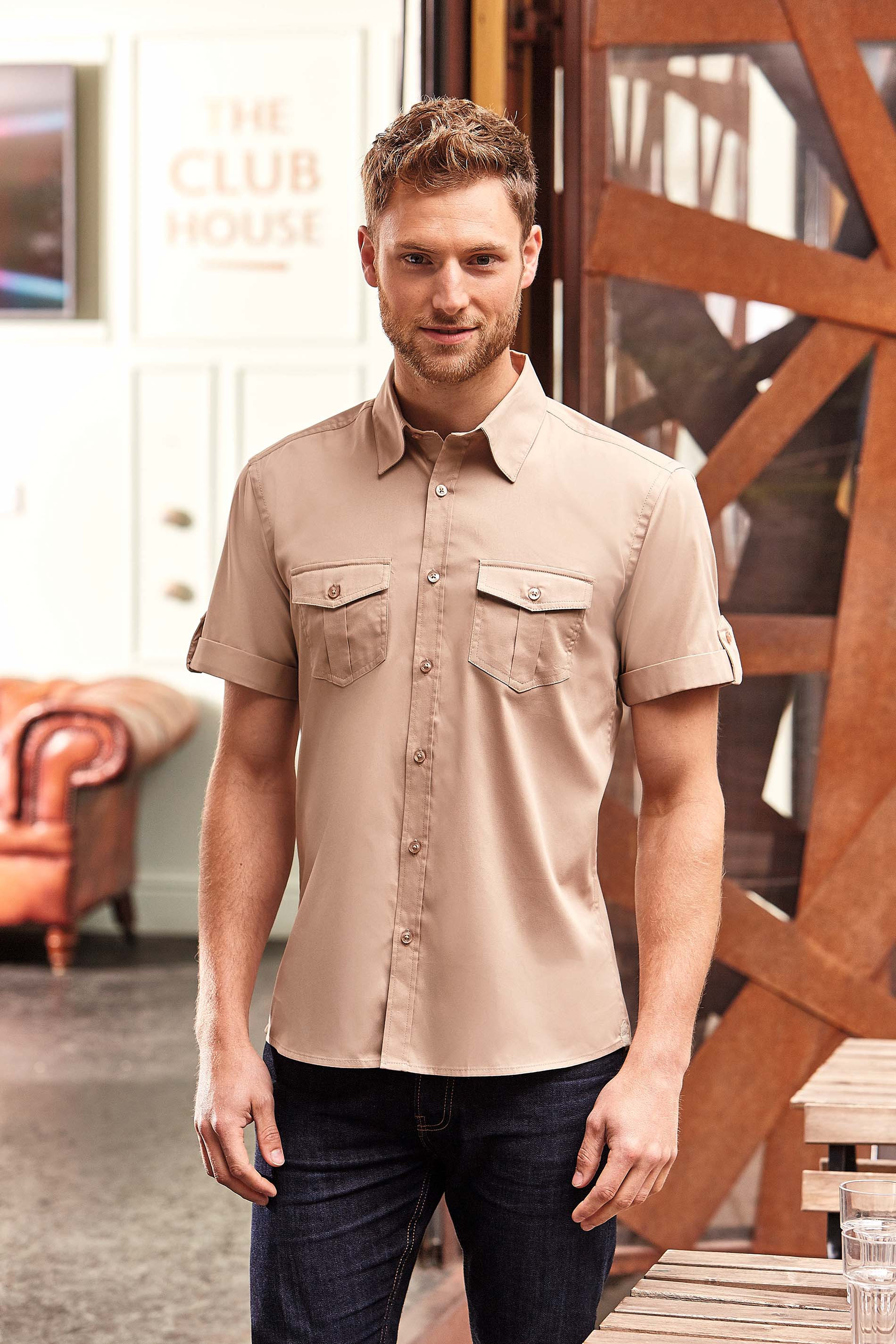 Russell CHEMISE HOMME MANCHES COURTES TWILL ROLL-UP