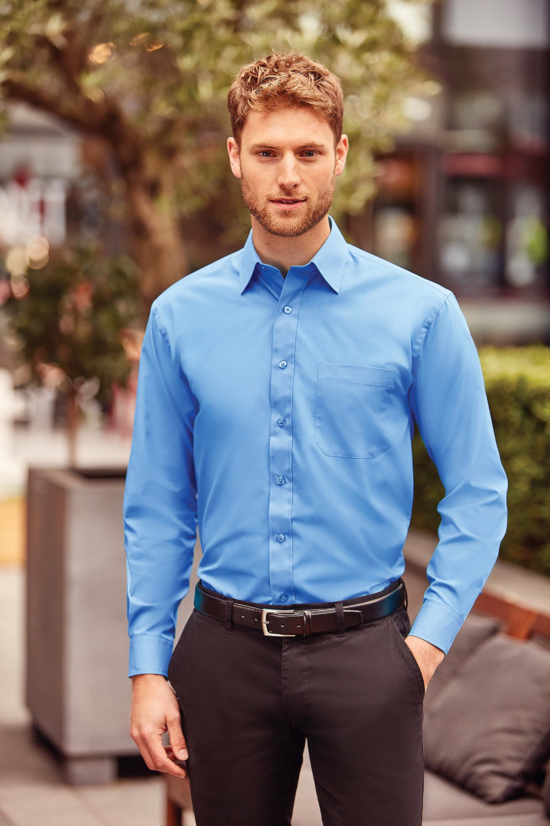 Russell CHEMISE HOMME POPELINE POLYCOTON MANCHES LONGUES
