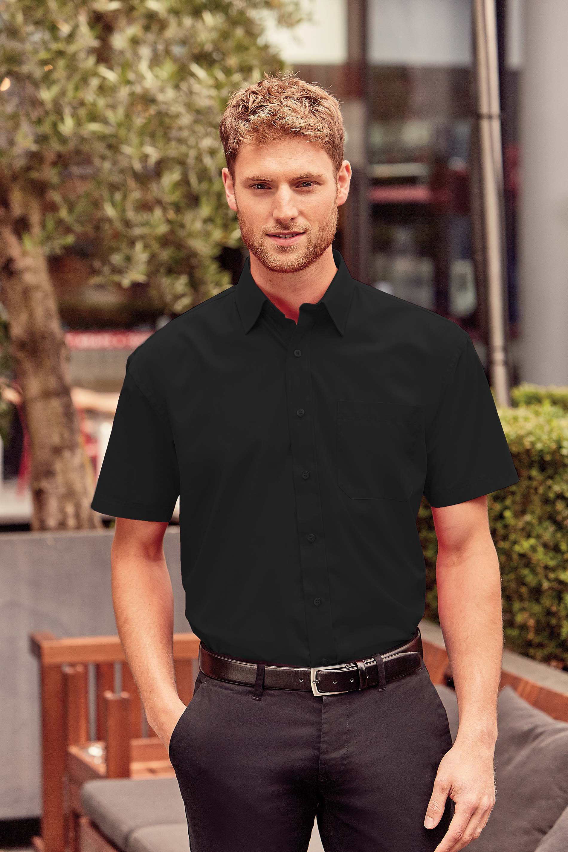 Russell CHEMISE HOMME POPELINE POLYCOTON MANCHES COURTES