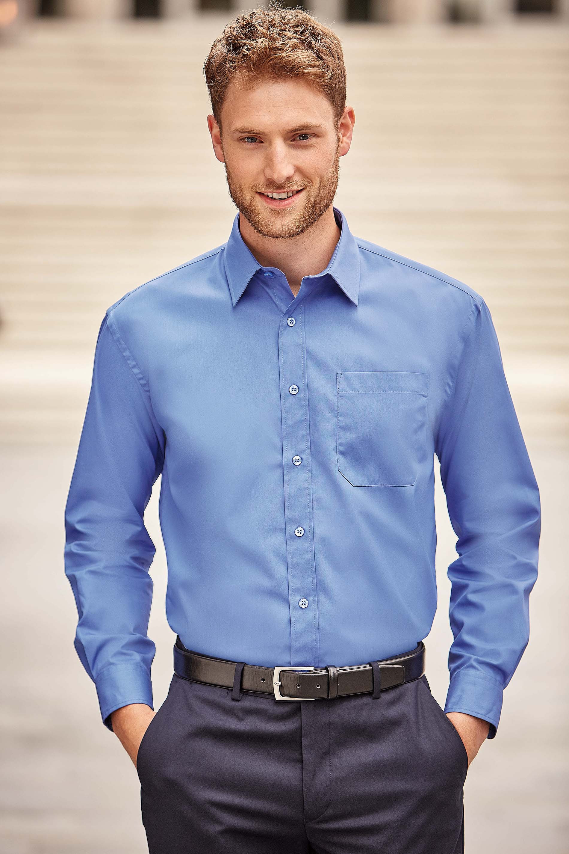 Russell CHEMISE HOMME POPELINE PUR COTON MANCHES LONGUES