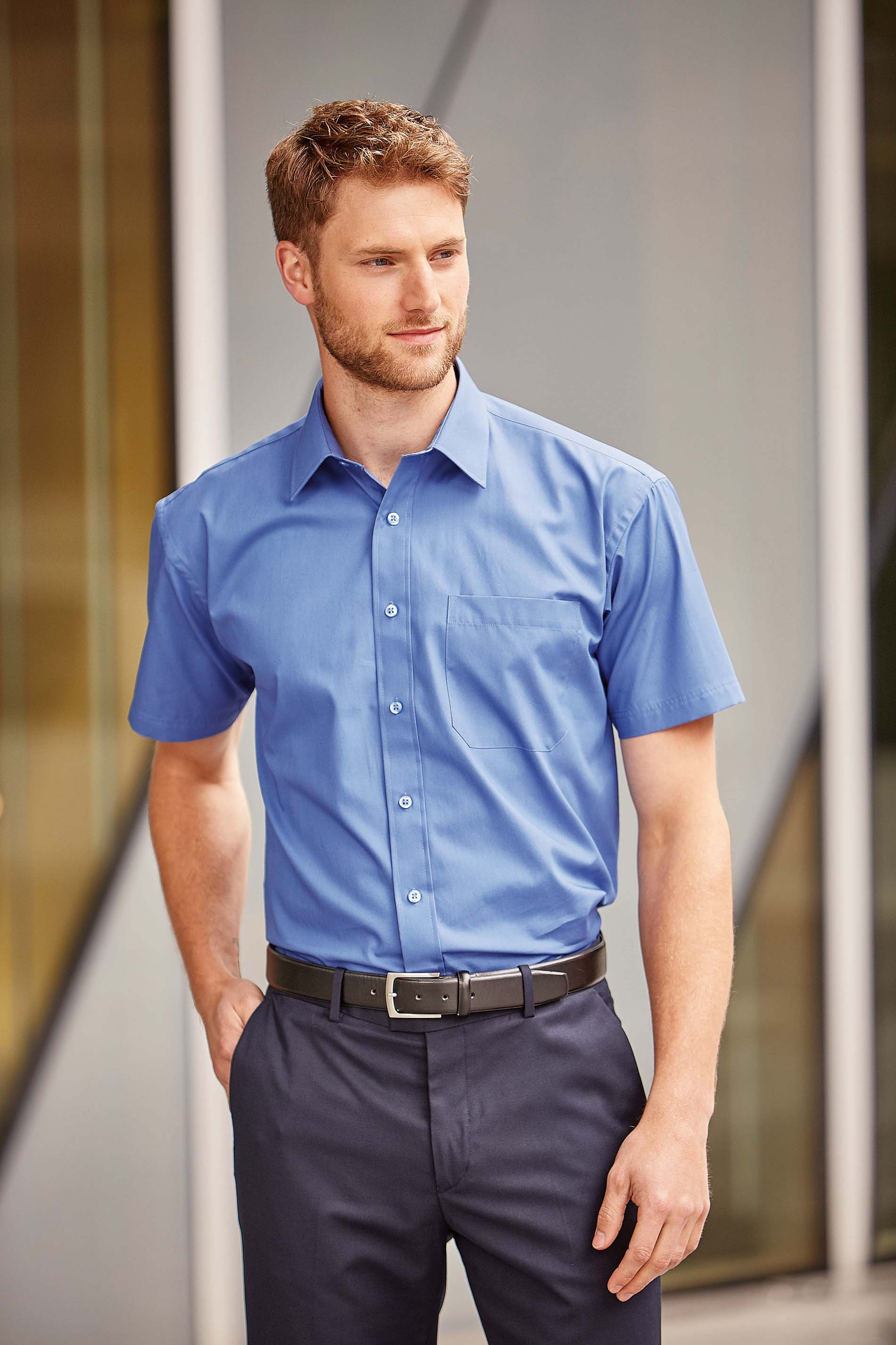 Russell CHEMISE HOMME POPELINE PUR COTON MANCHES COURTES