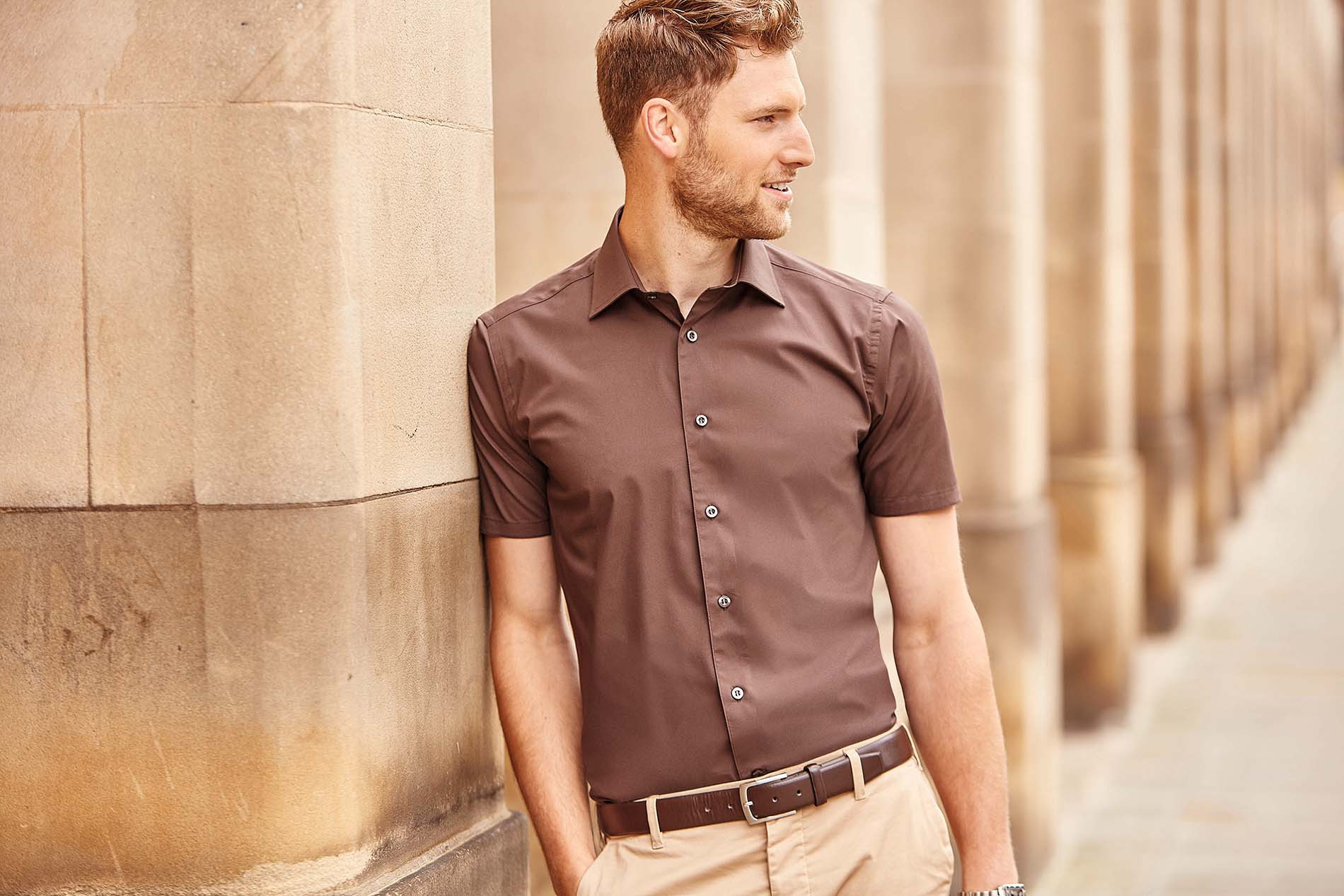 Russell CHEMISE FITT�E HOMME MANCHES COURTES
