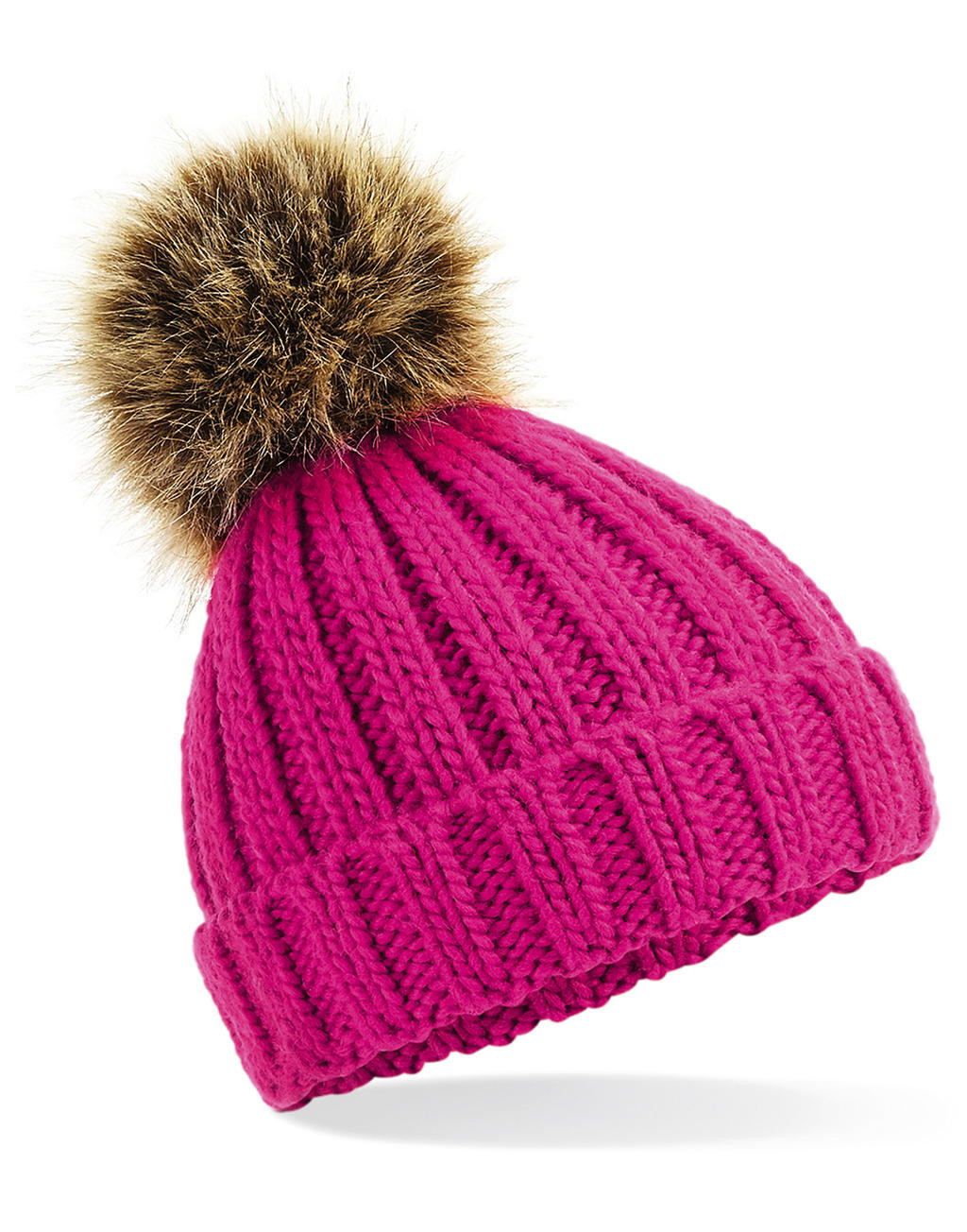Beechfield Infant/Junior Fur Pom Pom Chunky Beanie