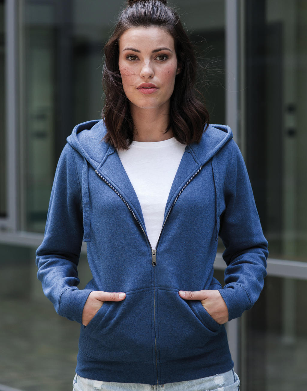 Russell Ladies´ Authentic Melange Zipped Hood Sweat